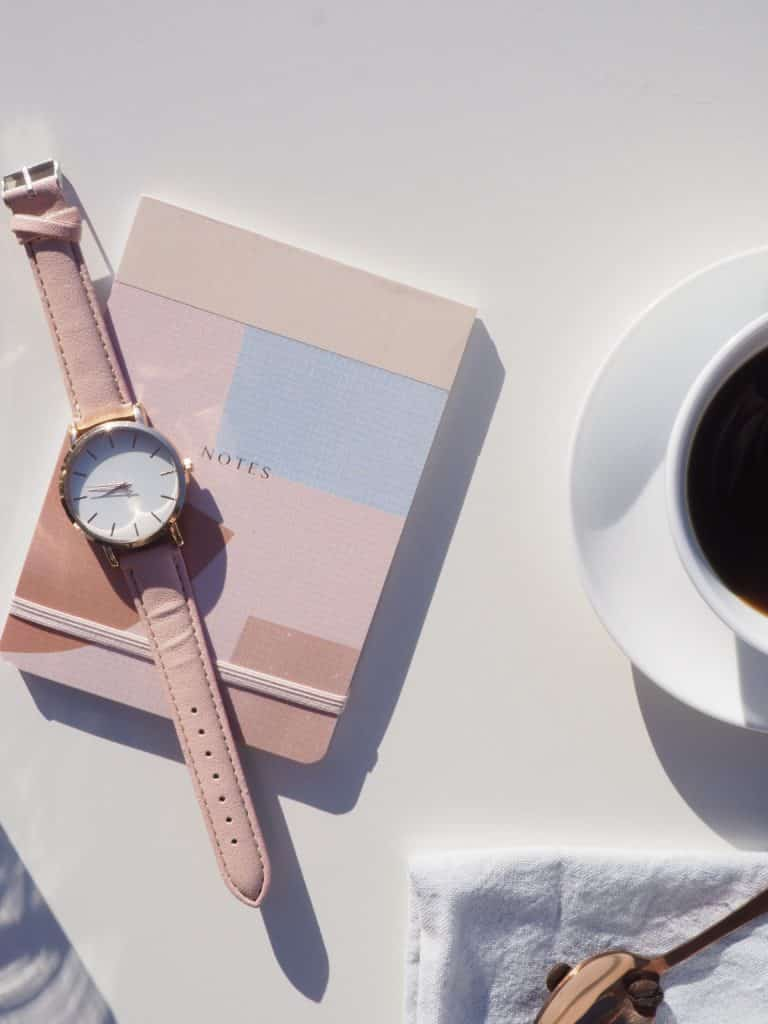 watch notebooks and coffee