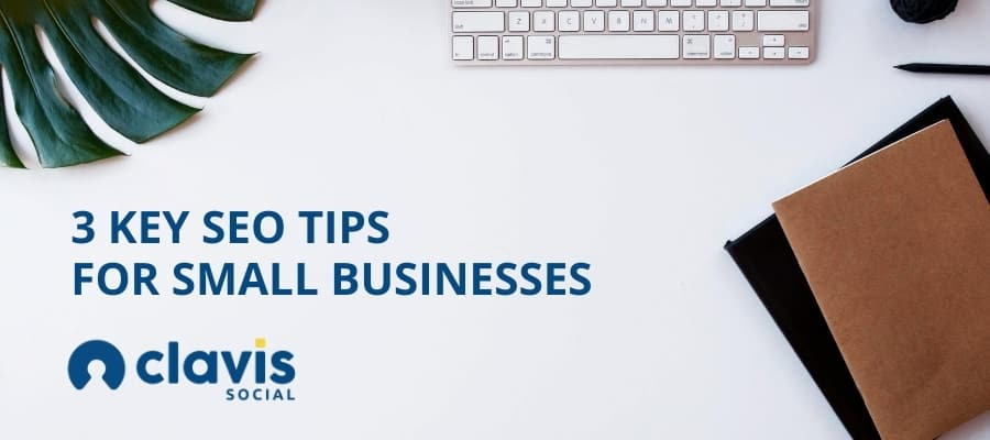 small business SEO graphic - desk with assorted office items and blog title text