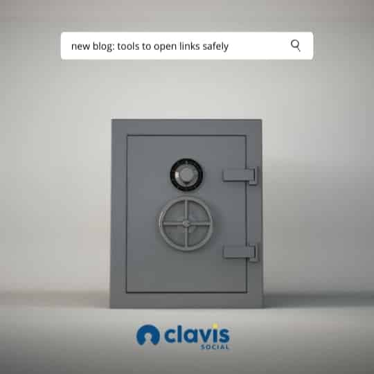 dark grey imposing safe in the center of the screen. google search bar above the safe titled - tools to open links safely