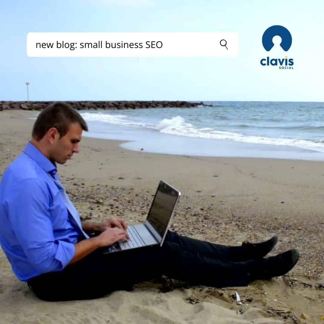 SEO graphic - businessman on beach struggling with his laptop computer